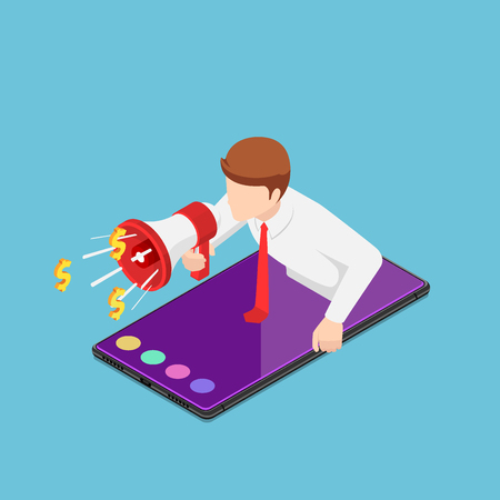 Flat 3d isometric businessman shouting out with megaphone come up from smartphone. Online business advertising and referral marketing concept.