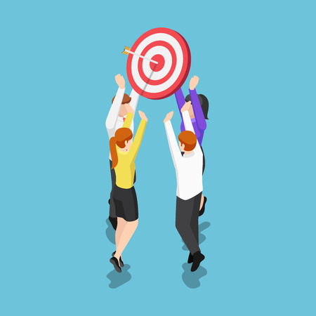 Flat 3d isometric business team holding target with arrow in the center. business target and teamwork concept.