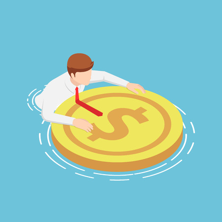 Flat 3d isometric businessmen are floating on the water with rescue dollar buoy. Financial crisis and reserve fund concept.