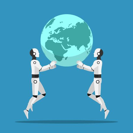 Two Ai robot help together to raising the world. Artificial intelligence and ai rule the world concept.