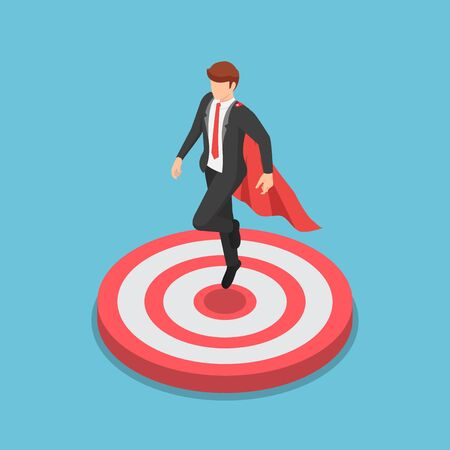 Flat 3d isometric super businessman landing on the target. Business target and leadership concept.
