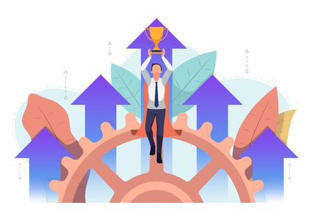 Super businessman flying up with trophy and business arrow growth in background. Business success and leadership concept.