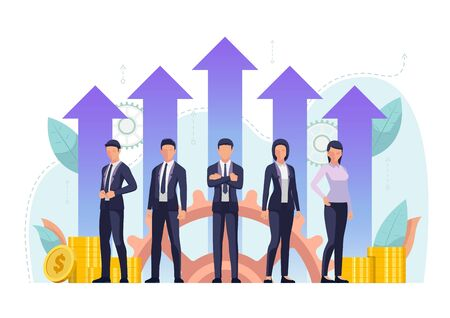 Successful business team standing together with growth financial arrow. Effective business team concept. 일러스트