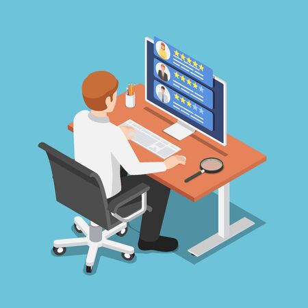 Flat 3d isometric businessman find freelancer specialist on his computer. Freelancers service concept