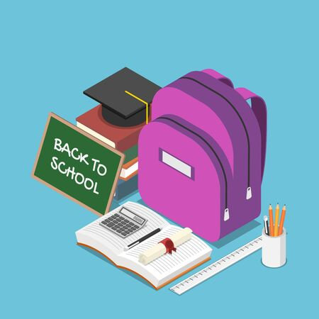 Flat 3d isometric blackboard with text back to school and a backpack, stationary, books, graduation cap. Back to school and education concept. 向量圖像