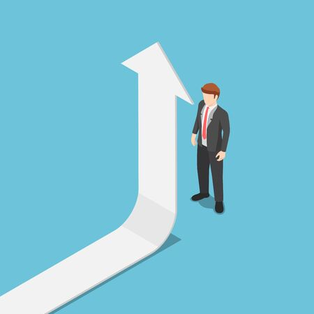 Flat 3d isometric the arrow turn up when it met businessman. Business success and leadership concept. 向量圖像
