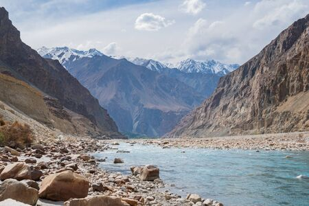 Shyok River and Shyok Valley in Turtuk village located in Leh Ladakh, northern India state of Jammu and Kashmir, India.