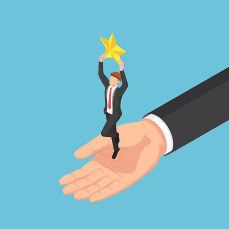 Flat 3d isometric giant hand helping businessman to catch the star. Business team and success concept. Иллюстрация