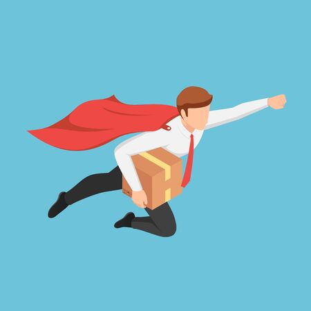 Flat 3d isometric super businessman flying fast to delivery parcel to customer. Fast delivery service concept.