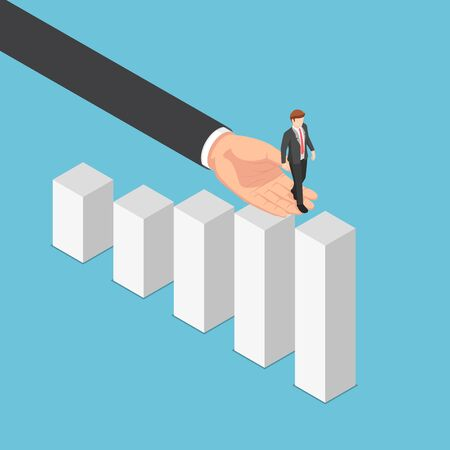 Flat 3d isometric big business hand helping businessman reaching the top of graph. Business assistant and teamwork concept. Illustration