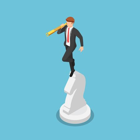 Flat 3d isometric businessman looking through telescope on horse chess. Business vision and strategy concept.