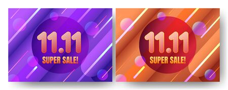 November 11 super sale shopping day with line and geometric shape background for poster, web banner, landing page, poster, flyer, promotional material.