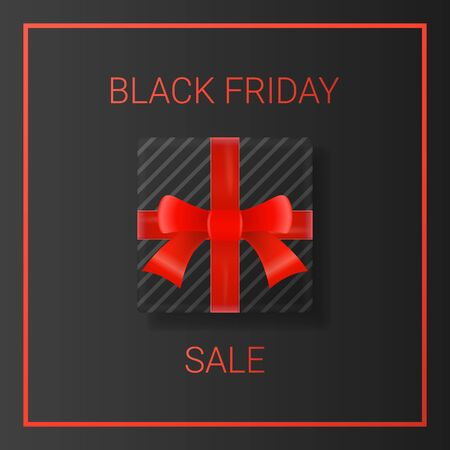 Black friday sale background with gift box and red ribbon. Black friday web banner template.