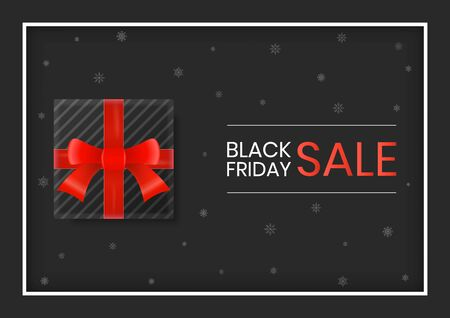 Black friday sale gift box with red ribbon on snow background. Black friday web banner template.