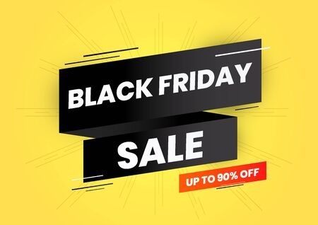 Black friday sale up to 90 percent off on black ribbon and yellow background web banner