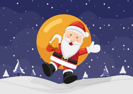 Happy Santa Claus holding sack and jumping on the snow. Christmas background concept. 向量圖像