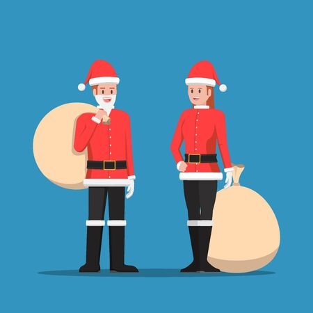 Man and woman in santa claus suit with christmas sack