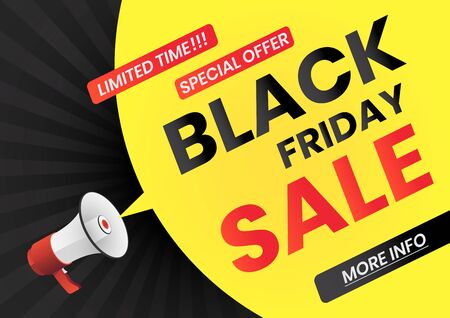 Megaphone with Black Friday Sale message on yellow speech bubble. Black friday web banner poster.