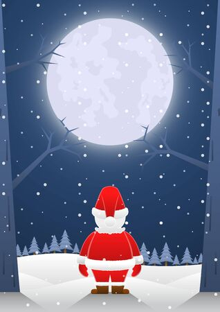 Santa claus standing alone on christmas night with big moon. Merry Christmas and Happy New Year concept background. 일러스트