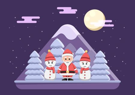 Santa claus with snowman standing on snowy night.  Merry Christmas greeting card background.