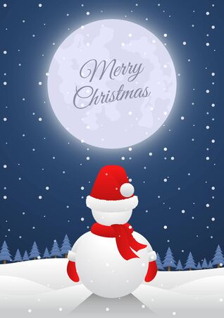 Snowman standing alone on christmas night with big moon. Merry Christmas and Happy New Year concept background. 스톡 콘텐츠 - 133099072