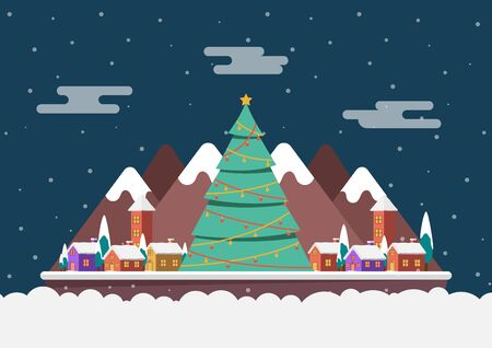 Winter night landscape in a small village with big christmas tree. Merry Christmas and happy new year background. 向量圖像