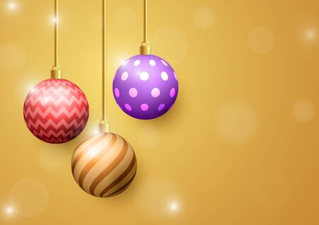 Christmas ball on golden background. Merry Christmas and happy new year background.