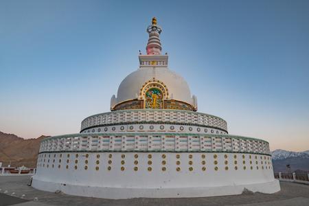 Shanti Stupa on a hilltop in Leh Ladakh, India