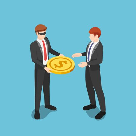 Flat 3d isometric blindfolded businessman giving dollar coin money to other business people. Preventing Conflicts of Interest with Blind Trusts concept.