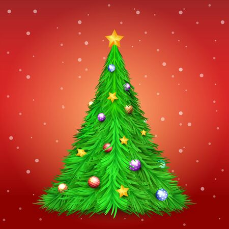 Christmas tree with decoration ball and star on red background with snow. Merry Christmas and Happy New Year Holiday background.