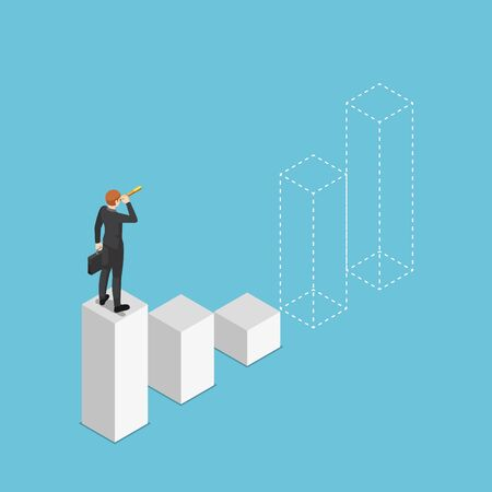 Flat 3d isometric businessman looking through telescope and prediction future of bar graph. Business vision and financial stock market forecast concept.