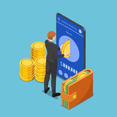 Flacher isometrischer 3D-Geschäftsmann legte Goldmünze in Smartphone. Mobile-Banking-Konzept. Vektorgrafik