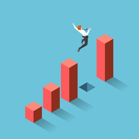 Flat 3d isometric businessman jumping through the gap between graph. Business challenge and risk concept. Ilustración de vector