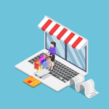 Flat 3d isometric business woman with cart shopping on online store on laptop. Online shopping concept. Illustration