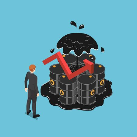 Flat 3d isometric businessman standing in front of oil barrels with rising red arrow. Oil price increase and business concept.