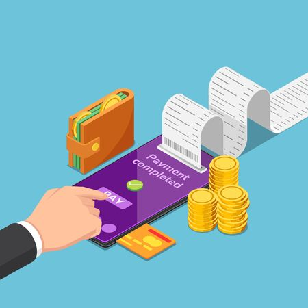 Flat 3d isometric businessman use smartphone to pay money online. Mobile payment and online shopping concept.