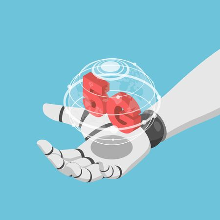 Flat 3d isometric Ai artificial intelligence robot hand holding virtual world and 5g icon. 5G network wireless systems and IoT internet of thing concept.