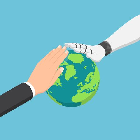 Flat 3d isometric businessman and ai robot hand protecting the world. Global business with artificial intelligence and environmental conservation concept.