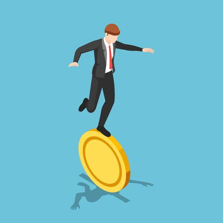 Flat 3d isometric businessman balancing on golden coin. Financial risk and unstable concept.