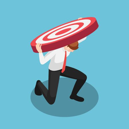 Flat 3d isometric businessman carry very big target than he had expected. Business target and burden concept.