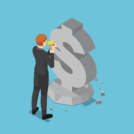Flat 3d isometric businessman carving dollar sign from rock. Business and finance concept. Stock Illustratie