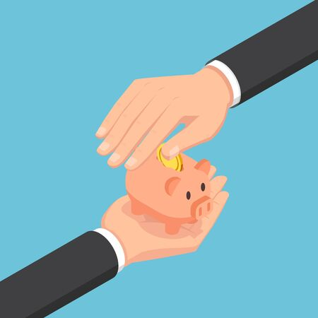 Flat 3d isometric businessman hand protecting piggy bank. Saving and protection money concept.