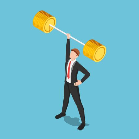 Flat 3d isometric businessman lifting barbell by one hand. Business power and leadership concept. Stock Illustratie