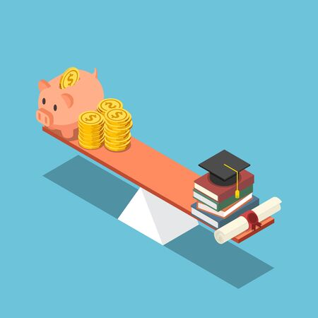 Flat 3d isometric piggy bank and dollar coin equal to graduation cap and diploma on the scale. Investment in education concept. Vectores
