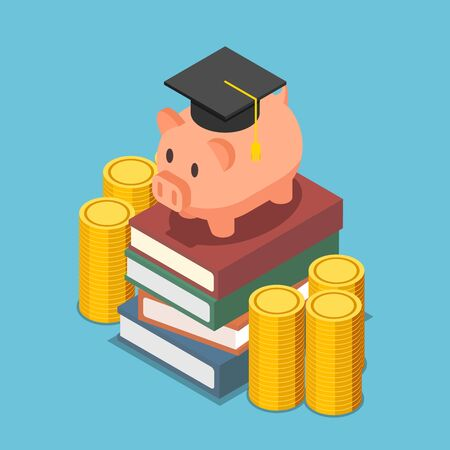 Flat 3d isometric piggy bank with graduation cap on the stack of book. Investment in education concept.