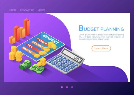 3d isometric web banner budget planning application on digital tablet with calculator and money. budget planning and financial concept.