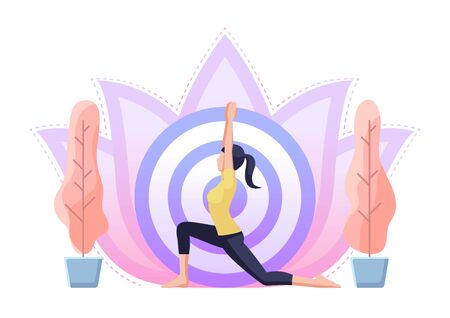 Woman doing yoga in warrior one pose. Health care and meditation concept.