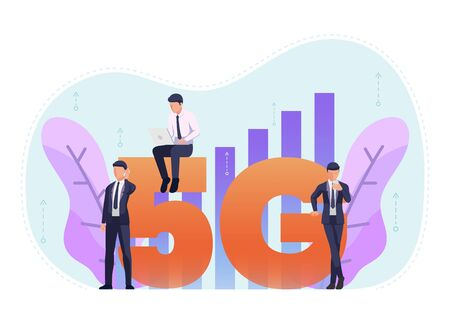 Business people use 5G in various activities like working on laptop or surfing the internet. 5G hi speed network wireless systems concept. Stock Illustratie