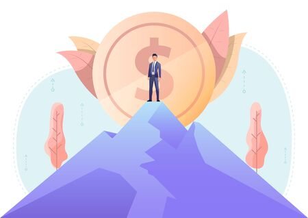 Businessman standing on the top of mountain with big dollar coin in background. Business leadership and achievements concept.