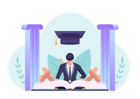 Businessman studying and reading a book with graduation cap. Education and business concept Stock Illustratie